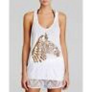 Milly Cabana White Racerback Tank Top Small